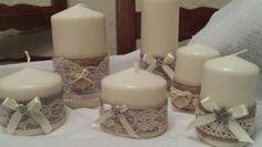 Candele decorate con pizzo