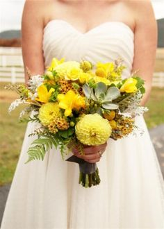 BRIDAL BOUQUET: I definitely want yellow dahlias, succulents, and freesia (but white), plus add some ranunculus, maybe poppies too