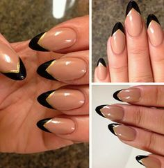 nude nail with gold and black tips