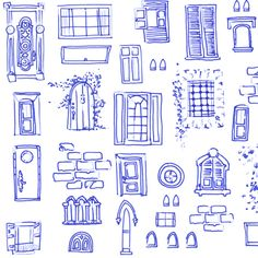 Windows and Doors Doodle fabric by jadegordon on Spoonflower - custom fabric Building Drawing, Building Art, House Sketch, House Drawing, Drawing Practice, Drawing Lessons, House Doodle, Illustrated Words, Watercolor Journal
