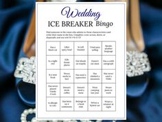 Bridal Shower Ice Breaker Game Navy Wedding Human Bingo Cards | Etsy Bingo Cards, Printable Cards, Party Printables, Ice Breaker Bingo, Human Bingo, Wedding Party Games, Ice Breakers, Card Envelopes, Getting To Know You