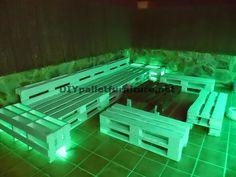 Muebles de palets: Sofás para terraza chillout y mesa con iluminación...