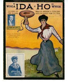 """Ida-Ho"" ~ 1906 Cowgirl sheet music cover."