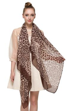 3ddbf63cf3 African Leopard Print Scarf with Panther Face Fashion Shawl Lightweight - B  - CH124TPMKY7