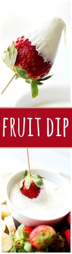 ^^  Cream Cheese Fruit Dip - Delicious, lightened-up creamy fruit dip made with cream cheese and plain yogurt. Simple, yet SO GOOD! Get the recipe on diethood.com