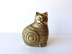 Vintage Brass Cat Figurine Paperweight by HerVintageCrush on Etsy, $21.00