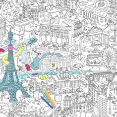 GRAND PARIS - GIANT COLORING ROLL http://www.omy.fr