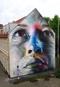 New Colorful Mural by Street Artist David Walker in Aalborg // Denmark