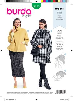 One pattern, two totally different styles: the longer raglan jacket made up in classic houndstooth fabric is a perfect match for Trousers/trousers. The short jacket with stylishly cropped sleeves and a small collar can be teamed with long and narrow skirt Burda Sewing Patterns, Coat Pattern Sewing, Vogue Patterns, Jacket Pattern, Sewing Ideas, New Look Patterns, Plus Size Patterns, Coat Patterns, Dress Patterns