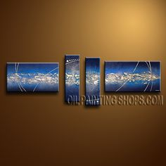 Large Modern Abstract Painting Oil Painting On Canvas Gallery Stretched Abstract. This 4 panels canvas wall art is hand painted by Bo Yi Art Studio, instock - $148. To see more, visit OilPaintingShops.com