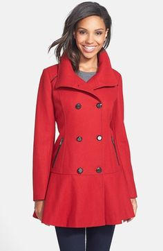 GUESS Skirted Wool Blend Coat available at #Nordstrom