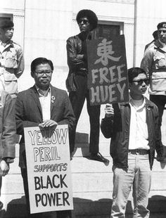"""Protesters including Mexican American Brown Berets, a Black Panther and Chinese Americans holding signs, """"Yellow Peril Supports Black Power"""" and """"Free Huey,"""" . Black Power, Black History Facts, Black History Month, Strange History, Black Panthers Movement, Yellow Peril, Person Of Color, Chinese American, Mexican American"""