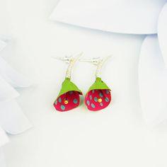 Colorful earrings lily flower earrings modern 50's style