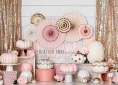 Delicate Pink Pumpkin Party Delicate Pink Pumpkin Party – Baby D… - Babyshower Pink Cake Ideen Pumpkin 1st Birthdays, Pumpkin Birthday Parties, Pumpkin First Birthday, Fall Birthday, 1st Birthday Girls, Birthday Ideas, Baby Shower Fall, Fall Baby, Girl Shower