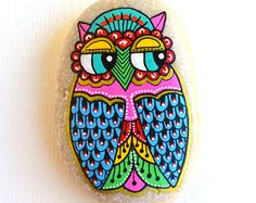 RESERVED*For Alexandra* Hand Painted Stone Owl