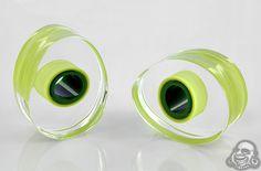 Glass lifesaver teardrop plugs (Light green with dark green center)