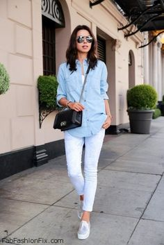 Denim shirt, white jeans, sneakers and Chanel Boy bag for fall street style.