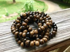 8mm Round Bone Beads, Handcrafted Chocolate Malts Brown Dark Brown Color, Native…