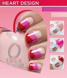 heart design using ring hole binders light pink, pink, red nail art layered free hand Beauty Nails, Cute Nails, Diy Nails, Pretty Nails, Funky Nails, Creative Nails, Nail Art Designs, Nails Design, Hair And Nails