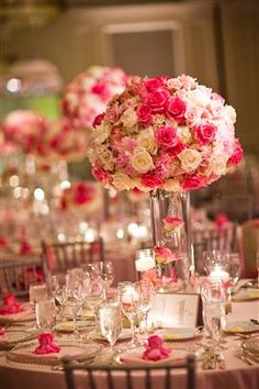 Going with a pink wedding? Try incorporating many different pinks into your floral arrangements for extra color. #weddingideas #pinkweddings