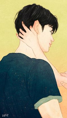 Zipcy- Touch series on Grafolio Cute Couple Art, Anime Love Couple, Couple Cartoon, Cute Anime Couples, Paar Illustration, Couple Illustration, Anime Couples Drawings, Couple Drawings, Boy Art
