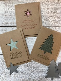 Simple Christmas cards made of kraft paper, /You can find Paper cards and more on our website.Simple Christmas cards made of kraft paper, / Simple Christmas Cards, Christmas Card Crafts, Homemade Christmas Cards, Christmas Greeting Cards, Homemade Cards, Handmade Christmas, Holiday Cards, Christmas Tree, Navidad Simple