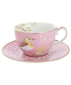 Liberty of London, Pink Bird Print Cup and Saucer