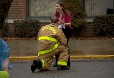 This is Not a Drill: Local Firefighter's Surprise Proposal  So special, her reaction is sohappily  sweet! #tears