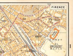 Florence City Map  Vintage Italy Firenze