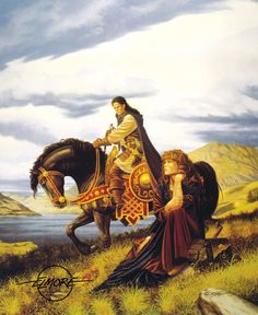 Larry Elmore - Appeasing Karita 1995  The last of our showcased paintings from uncle Larry in our home. We have more but not on display and 3 are not fantasy art