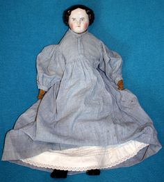 "19"" German China Head Doll, Sausage Curls, Blue Gingham Prairie Dress! Antique"