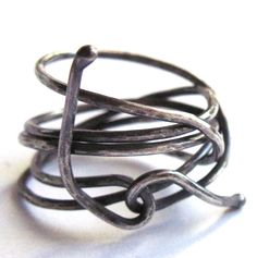 Small Wire Wrap Ring Sterling Silver Coiled by gimmethatthing, £13.50