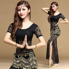 2017 New Belly Dance Practice Uniforms Practice Clothes Indian Dance  Clothing Lace Spring And Summer Women Suit 9511235679e9