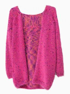 Colorful Spotted Mohair Cardigan - Choies.com