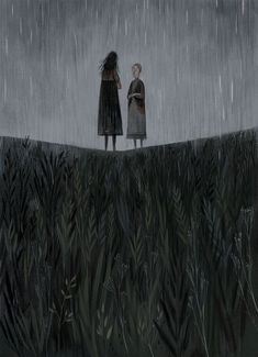 From El brazo marchito by Thomas Hardy illustration by Júlia Sardà Love the dramatic composition, the way the field forms a V to focus my attention on the figures standing. Also the verticality of it all - figures, rain and grass. Flower Illustrations, Children's Book Illustration, Julia Sarda, Art Design, Art Plastique, Graphic, Art Inspo, Childrens Books, Cool Art