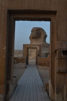 Sphinx at Sunrise - Viewed from 3rd Sphinx temple. Constructed by Amenhotep II, 18th Dynasty, New Kingdom. Restored by Piankhi, 25th Dynasty, Neo New Kingdom. Intentionally damaged by Psamtik I, 26th Dynasty, Late Period. Psamtik's grandfather, Bakenrenef was burned to death by Shabaka (Piankhi's brother) for treason for conspiring with the Assyrians (Hyksos-Heqa Khaset). This may by why Psamtik defaced so many 25th Dynasty temples after he was installed as proxy for the Asssyrians in 664…