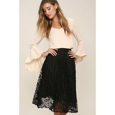 Sway Hello Black Lace Midi Skirt ($38) ❤ liked on Polyvore featuring skirts, black, pleated skirt, high waisted floral skirt, high waisted circle skirt, pleated circle skirt and floral circle skirt