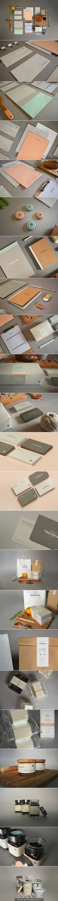 Tokyo Café branding stationary corporate identity logo menu packaging business card letterhead label sticker notebook minimal papercraft cardboard paper pastel colors coffee