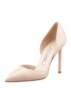 """At Neiman Marcus.  Manolo Blahnik Tayler Patent Pointed d'Orsay, Nude.  Patent leather d'Orsay pump by Manolo Blahnik. Pointed toe. 4"""" covered heel. Leather lining and sole. Slip-on style. """"Tayler"""" is made in Italy."""