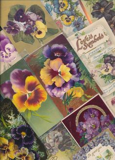 LOT of 25 Victorian PANSY~ Flowers floral greetings Postcards-Pansies -a649 #HolidaysGreetings