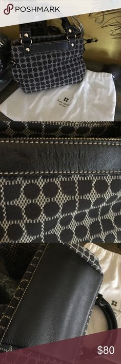 Kate Spade Millie Dot Noel Charcoal Handbag * Black and White Fabric with black leather strap * Zipper Pouch within * It can be adjusted to a slightly bigger bag. * (L) 9 x (H) 6 x (W) 3 inches  EUC! Looks brand new. Comes with dust bag. kate spade Bags