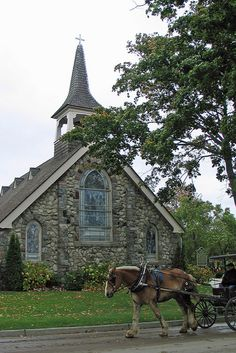 Little Stone Church on Mackinac Island, MI,