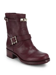 Valentino - Rouge Pebbled Leather Biker Boots