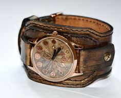 Leather watch  Steampunk watch  Men wrist watch  by FamilySkiners