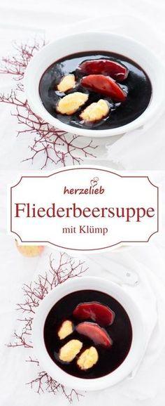 Suppe Rezept: Norddeutsche Fliederbeersuppe mit Grießklößchen nach einem Rezept von herzelieb #deutsch #foodblog #suppe #süß