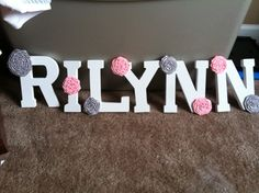 Letters for baby girl's room!!!  Pink and grey!!