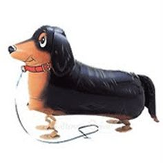 Ben the Dachshund by balloons.com: This walking pet balloon filled with helium glides in the air but is grounded by its weighted little paws.  Ready for fun on its ribbon leash! #Balloon #Pet_Balloon #Dachshund