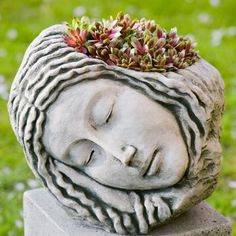 Sleeping Maiden Cast Stone Head Planter -swoon- Made in the USA!!