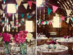 mason jars + pennant banners + bright colors = love.