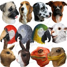 Latex Animals Head Unicorn Parrot Dogs Bear Carnival Props Stag Latex Party Mask